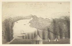 View of the Shirawati river, Garsoppa, with encampment. April 1806.  Preparatory drawing for WD593.